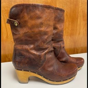 UGG Brown Distressed Leather Booties